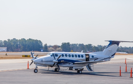 turboprop: A private turbo-prop airplane at  small airport