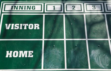 An old fashioned green chalk scoreboard 版權商用圖片