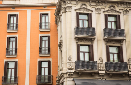 Old brown and orange hotels in Barcelona