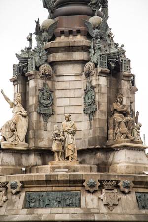 Base of memorial to Columbus at the end of La Rambla in Barcelona photo