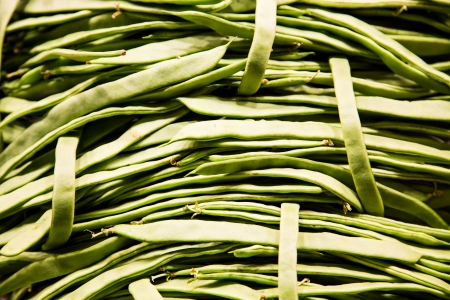 long bean: Many green beans in a vegetable market Stock Photo