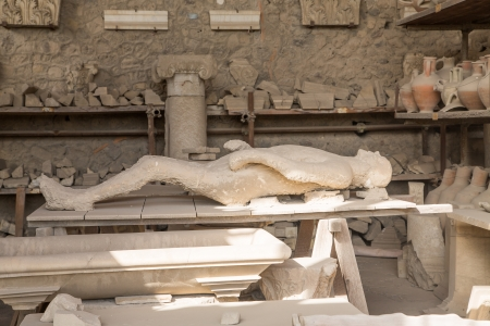 An ancient body entombed in ash in the city of Pompeii, Italy