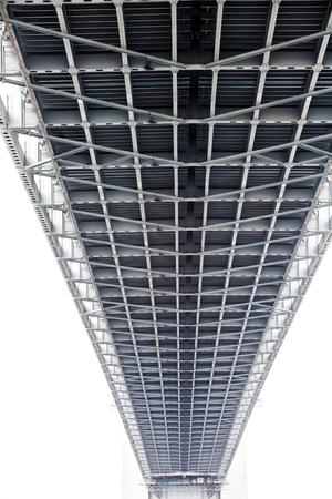 Botom of the Verazzano Narrows bridge with vanishing\ point