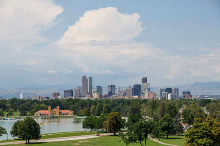denver skyline: Skyline of Denver, Colorado Beyond a Green Park