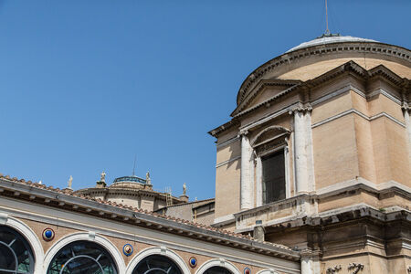 Roofline and details of exterior of Vatican museum in Rome