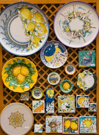 Hand Painted Plates and Tiles in a market in Sorrento on the Amalfi Coast photo
