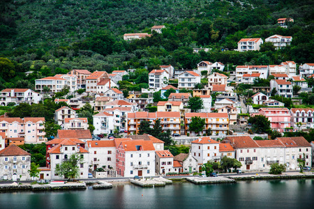 kotor: Houses and condos on the coast of Montenegro near Kotor
