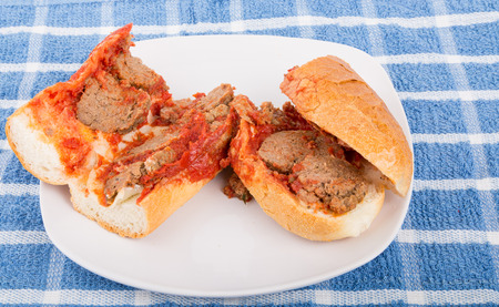 hoagie: Fresh, hot meatballs on a hoagie roll with tomato sauce and melted cheese