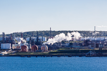 Industrial and Shipping area on the coast of Canada Stock Photo