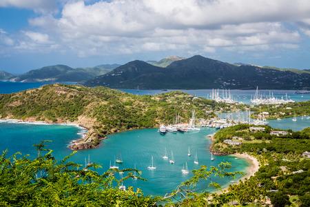 Yacht basin in Antigua from hills Archivio Fotografico