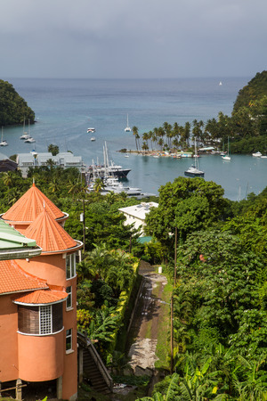 st lucia: View of beautiful Marigot Bay in St Lucia