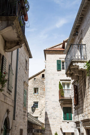 Old stone walkways through the city of Kotor in Montenegro photo