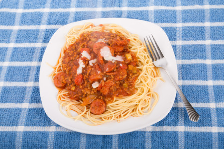 Fresh plate of delicious spaghetti with beef and sausage  meat sauce and parmesan cheese