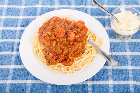 Spaghetti with a sauce of beef, tomatoes and sausage and shaved parmesan cheese on the side Фото со стока