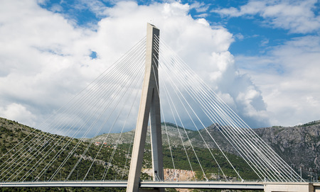 White Suspension Bridge in Croatia photo