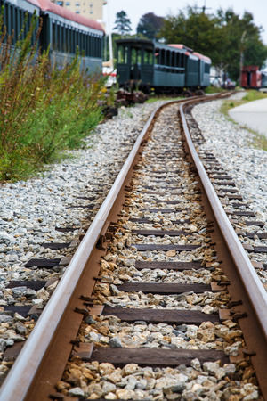 narrow gauge railroad: An old narrow gauge railroad track with green train cars in background