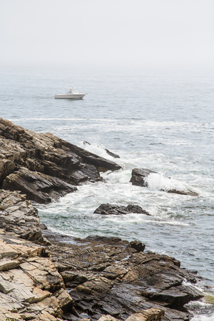 shores: Rocky shores and rough surf in fog on coast of Maine Stock Photo