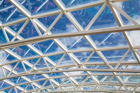 atrium: White steel and glass atrium ceilings under blue skies Stock Photo
