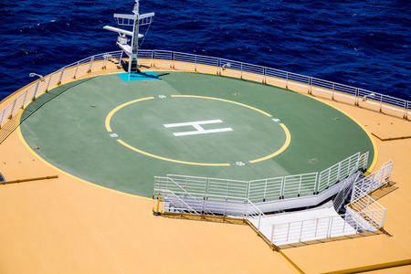 heliport: Landing pad for helicopters on the deck of a cruise ship Stock Photo
