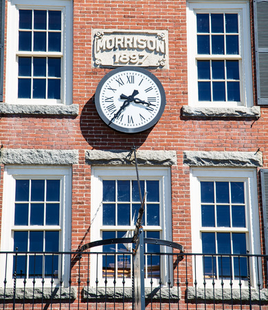morrison: A clock on the old Morrison building in Bar Harbor, Maine