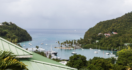 saint lucia: View of Marigot Bay from hilltop in St Lucia