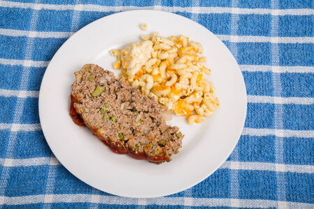 meatloaf: Traditional meatloaf with macaroni and cheese Stock Photo