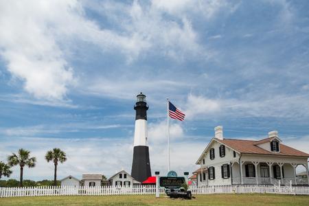 Black and White lighthouse on Tybee Island, Georgia Stock Photo