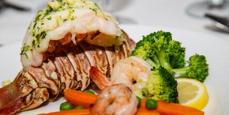 gourmet dinner: Gourmet Dinner of Lobster Tail, Shrimp and Broccoli