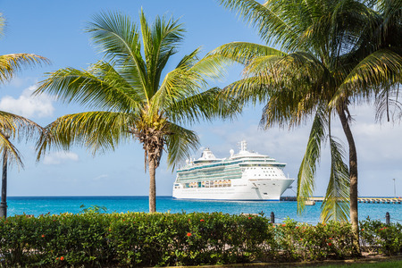 ship bow: White Luxury cruise ship in blue water beyond palm trees