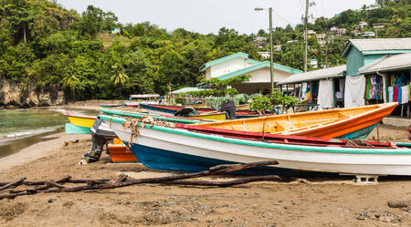st lucia: Colorful Fishing boats on a beach in St Lucia Stock Photo