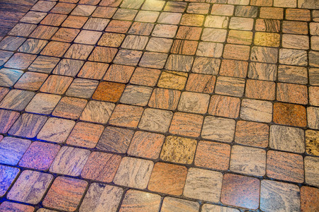 tile flooring: A colorful wood pattern stone tile floor useful for background or texture