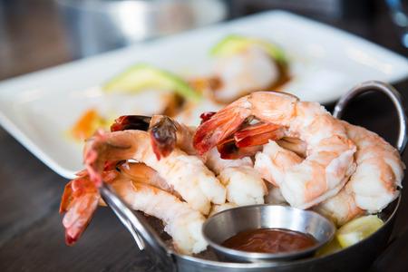 Fresh Shrimp Around Martini Glass With Cocktail Sauce Stock Photo ...