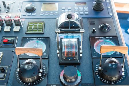 Electronics and controls on a modern ship Foto de archivo