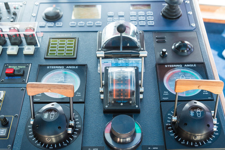Electronics and controls on a modern ship Stock Photo