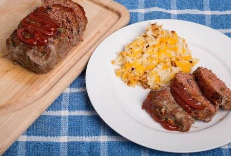 meatloaf: Meatloaf dinner with hash brown potatoes