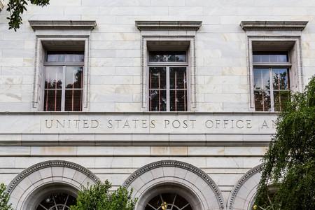 Old white stone post office in Savannah, Georgia