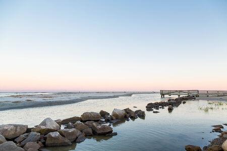 港の海岸で岩護岸 写真素材