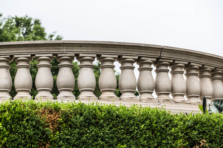 balustrade: A curved cement balustrade in a public park