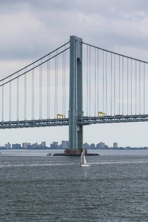 grey skies: The Verrazano Bridge under grey skies on a foggy day in New York City