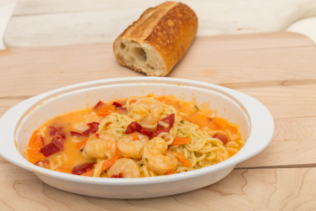 angel hair: Shrimp in Angel Hair Pasta with Bread Stock Photo