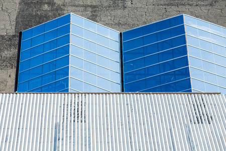 corrugated metal: Angles in Blue Glass Roof Under Corrugated Metal Roof