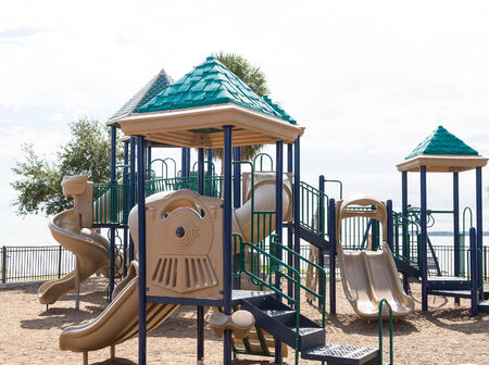 playground equipment: Colorful plastic playground equipment in a park