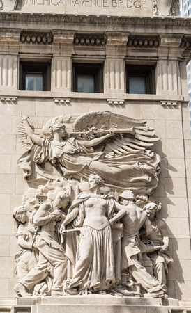 michigan avenue: Carving on the Michigan Avenue Bridge in Chicago Stock Photo