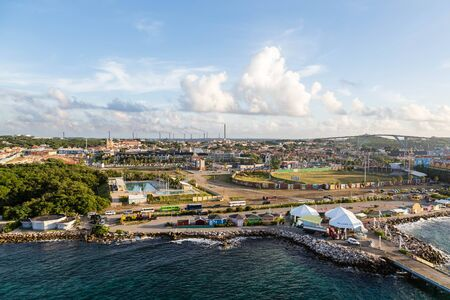 curacao: The colorful port of Curacao from the sea Stock Photo