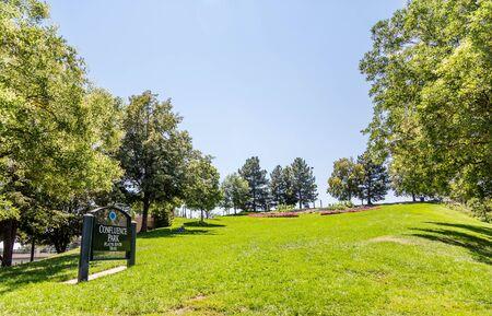 denver parks: Sign for Confluence Park in Denver Colorado Stock Photo