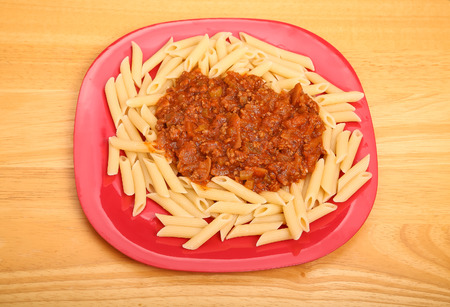 bolognese sauce: Penne pasta topped with fresh bolognese sauce