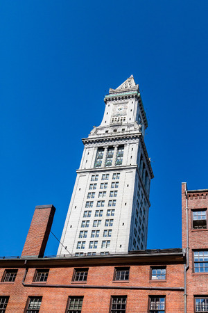 clocktower: Old clock tower in Boston against a clear blue sky Stock Photo
