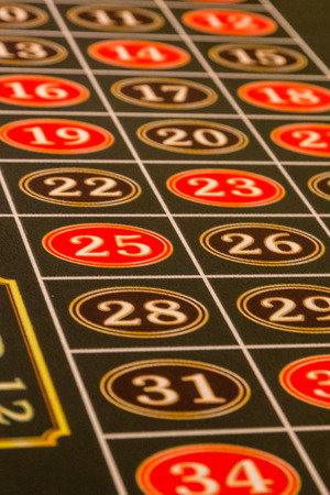 Number on Green Felt of a Roulette Table