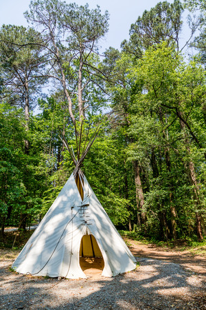 tipi: A Native American teepee in a wooded clearing
