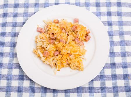 papas doradas: Croquetas de patata con jamón y queso